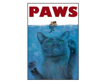 cat, photo collage, note card, print, cat, blue, jaws, ocean, mouse, funny,Blank Note Cards, 5x7, 8x10