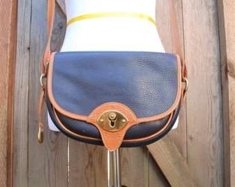 Vintage Dooney and Bourke USA All Weather Leather Navy Blue Shoulder Bag Handbag Purse Boho Hippie Spring Fashion Hipster Preppy Hobo Bag