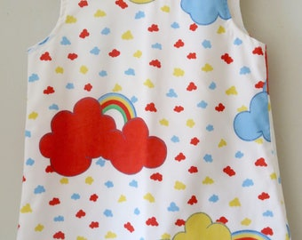 25% OFF Upcycled Rainbow Print Pinafore Dress Age 3-4