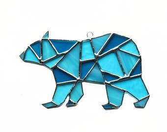 Polar Bear Stained Glass Suncatcher, Geometric Art, Geometric Stained Glass, Stained Glass Polar Bear, Geometric Bear
