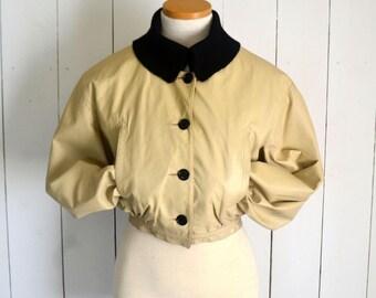 Cropped Leather Jacket - Bonnie Cashin Coat - 1950s Rockabilly Bomber Jacket - Sills & Co. - Small S