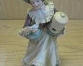 Porcelain Napco Figurine Victorian Lady Holding Bird And Bird Cage C-6639