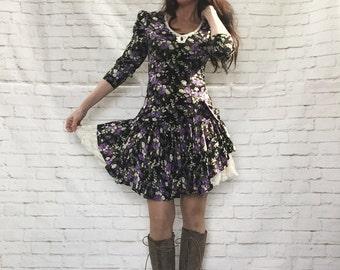 Vintage 80s Layered Floral Mini Dress M Black Purple Lace Ruffled Crinoline Steampunk