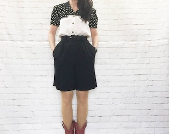 Vintage 80s Polka Dot Military Belted Romper Black White Pockets Shorts Blouse Combo M