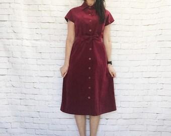 Vintage 70s Burgundy Ultrasuede Dress S Button Front Cap Sleeve Belted Knee Length Suede