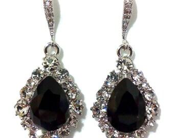 Black Bridal Earrings, Teardrop Bridesmaid Earrings, Swarovski Wedding Earrings, Crystal Earrings, Gothic Earrings, Bridesmaid Gift, BIJOUX