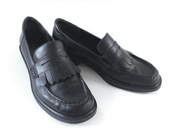 90s Black Fringe Loafers Leather Shoes Rockport Womens 8 EUR 38