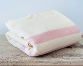 Vintage Striped Wool Blanket - Pink and Cream