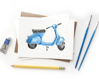 Blue Vespa Watercolor Painting | Original Artwork Scooter Azzuro Italian Moped
