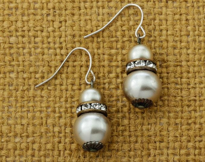 Pearl & Vintage Rhinestone Earrings French Hook Dangle Drop | Champagne Darker Pearls | Silver Tone Pierced Earings | Vtg Pin 16B