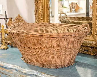Antique French Gathering Basket, Market Basket, from France