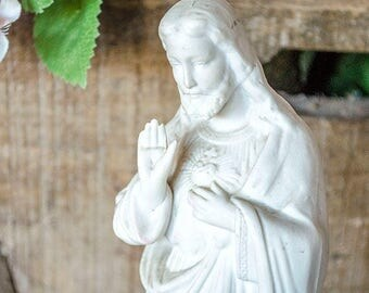 Antique German Sacred Heart Jesus Statue, White Porcelain Bisque, Made in Germany