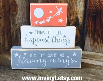 Peter Pan inspired, THINK HAPPY THOUGHTS, baby blocks, Neverland, Boy, Girl, Disney, nursery shelf sitter blocks stacker set-vinyl lettering