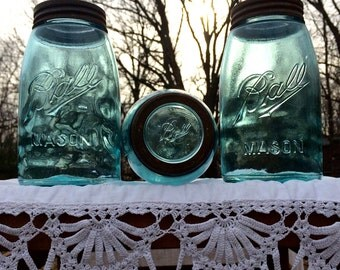 3 Ball c.1910-1923 Mason Jars with Ball Glass Lid Insert & Tall Metal Bands ~ Kitchen ~ Farmhouse ~ Industrial ~ Insurance w/Shipping