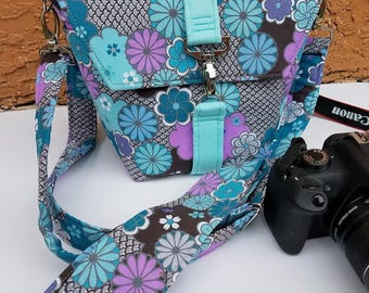 New-Camera bag-Digital SLR camera bag-Dslr camera case-purse-womens camera bag-Extra Bonus-Strap cover-FLORAL HEAVEN