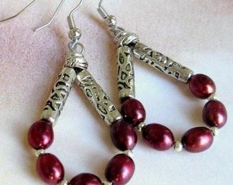 Merlot Dyed Freshwater Pearl Hoop Earrings, Freshwater Pearls and Silver Metal Hoop Earrings, Hoop Earrings, Dangles, FREE US SHIPPING