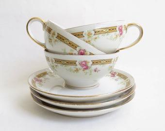 Guerin Limoges Tea Cup Saucer France China Teacups Wm Guerin & Co. Rose Pattern Floral Design Gold Trim Set of Three Set 3 Vintage Antique