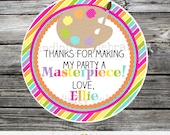 Art Party Favor Tags, Colorful Party Tags, Art Birthday Party Stickers, Art favor tags, Art stickers, Birthday Party Art, Painting Party