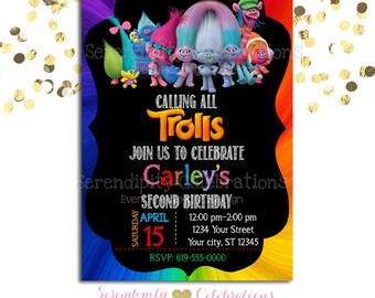 Trolls Birthday Invitation, Birthday Invite, Colorful Birthday Invite, Tye Dye Invite, Trolls birthday party, Trolls invitation, troll party