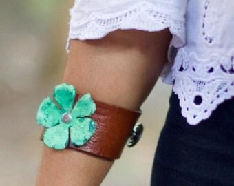 Leather Cuff Bracelet & Patina Flower