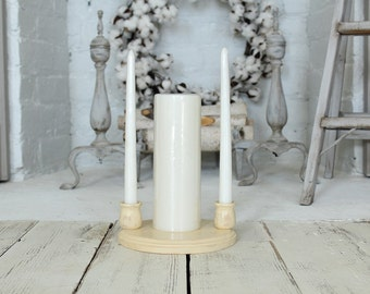 Wood Unity Candle Holder Display Shabby Chic Country Wedding Unity Candle Holder Wood Candle Cups Wood Plaque Candle Dispay Stand