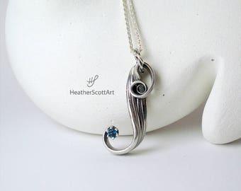 Blue Topaz Necklace, Topaz Necklace, Blue Pendant, Blue Necklace, Blue Topaz Pendant, Topaz Jewelry, December Birthstone