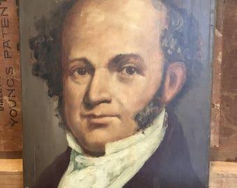 ORIGINAL antique & vintage OIL Portrait Painting of MARTIN vAN bUREN our 8th President