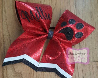 Red, Black, White Sparkle Glitter Cheer Bow With Paw Print And Name