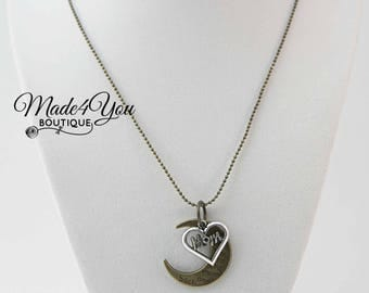 Love you to the Moon Necklace - Long Mom Necklace - Love Mom Charm Necklace
