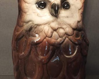 Vintage Great Horned Owl Ceramic Pottery TV Lamp
