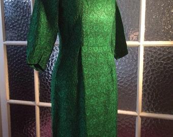 Vintage 50s 60s green shiny brocade wiggle dress