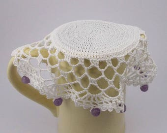 White Crochet Beaded Jug Cover with Pearly Beads, Beaded Glass Cover, Bowl Cover, Milk Jug Cover, Creamer Cover, Beaded Doily, Food Cover