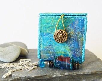 embroidered textile box, fibre art box, keepsake box, jewellery box, small square box, blues-greens, boho art box, handmade fibre art box