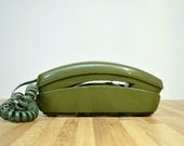 Vintage ITT Rotary Dial Telephone The Trimline Phone Bell System Avocado Green Desk Phone