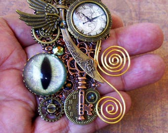 Oriental Time Traveler Brooch (P710) Pin, Antiqued Brass and Copper, Hand Painted Glass Eye, Faux Pocket Watch, Gears, Swarovski Crystals