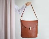 Bucket Bag Maroon Leather with Cotton Lining, big hobo bag,  brown shoulder bag, leather shopper, crossbody bag