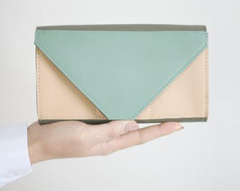 Tricolor Leather Clutch Wallet Nude / Sage Green / Taupe , secretary wallet, big leather wallet, envelope clutch, large wallet