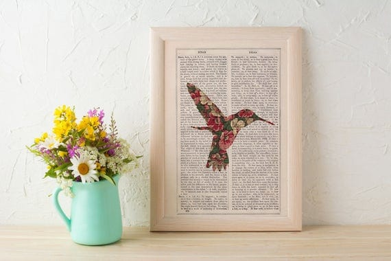Hummingbird silhouette, Hummingbird and flowers pattern art collage print. Floral wall art print. Gift for her. art ANI248