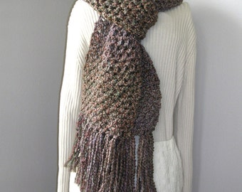 Warm Brown Bulky Crochet Scarf - Long Crochet Winter Scarf - Neutral Super Scarf - Handmade Boho Fringe Fashion Scarf