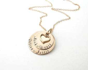 Personalized Gold Necklace with Heart - Personalized Jewelry - Layer Necklace - Family Stacked Necklace - Kids Name - Grandkids - Engrave