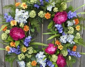 Spring / Summer Wreath, Wreath for Spring / Summer, Full Wreath, Flower Garden Spring Wreath, Artificial Spring Wreath by Horns Handmade
