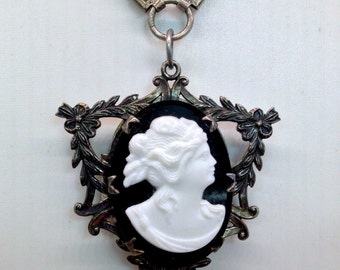 Victorian French Jet & White Milk Glass Cameo Sterling Silver Garland Mourning Hair Locket