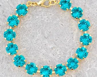 Teal Swarovski Crystal Bracelet Peacock Wedding Gift Blue Zircon Rhinestone Tennis Bracelet Bridesmaid Wedding Jewelry Something Blue Bride