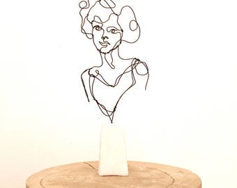 Wire sculpture bust of woman, female human bust, standing sculpture, young lovely lady