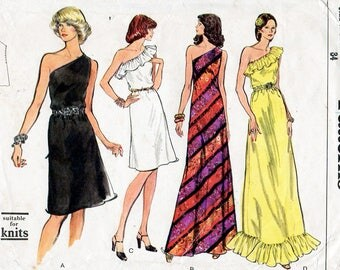 1970s One Shoulder Evening Dress Pattern Vogue 8878 Vintage Sewing Pattern Maxi or Knee Length Cocktail Dress with Optional Ruffles Bust 34