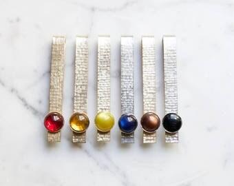 Vintage Minimal Brass Tie Clip | Mid Century Modern, Rainbow Wedding