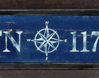 Personalized Latitude Longitude Wood Sign With Nautical Compass with Frame - Hand Crafted Custom Wooden Rustic Decor