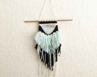 Mint Woven Wall Hanging // Mint + Black
