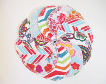 Cloth Nursing Pads--5 Pairs--Bright Patterns & Floral Mix--Fleece/ZorbII/Flannel--Ready to Ship