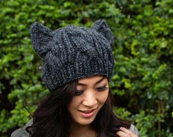 Black Pussyhat, Resist hat, Hand knit Pussyhat, Black Knit Cat Ears Hat, Black Cat Hat, Black Knit Hat, Pussycat, Adult S M L XL